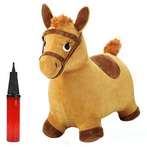 iPlay, iLearn Yellow Hopping Horse, Outdoors Ride On Bouncy Animal Play Toys, Inflatable Hopper Plush Covered with Pump, Activities Gift for 2, 3, 4, 5 Year Old KidsToddlers Boys Girls -