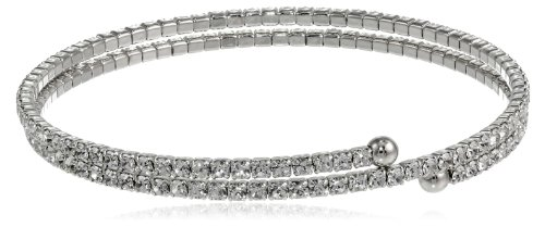 Double Row White Rhodium Plated Flex with Crystals Bangle (Crystal Double Row Bracelet)