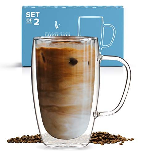 Coffee or Tea Glass Mugs Set of 2,15oz Double Wall Thermo Insulated Cups with Handle, Latte Cappuccino Espresso Glassware ()
