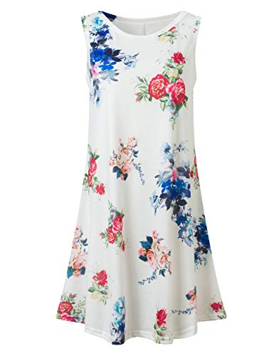 (Bibowa Tshirt Dress for Women Maternity Dresses White Flowers M)