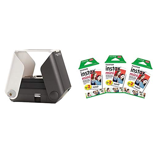 KiiPix Smartphone Picture Printer, Black with Instax Mini Instant Film Value Pack – (3 Twin Packs, 60 Total Pictures)