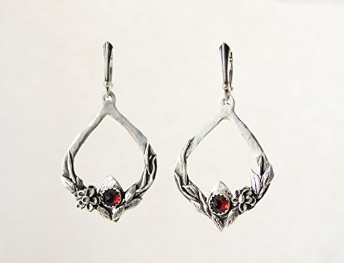 Nature Inspired Sterling Silver & Garnet Gemstone Intricate Flower Dangle Chandelier - Free Shipping - Garnet Nature Flower