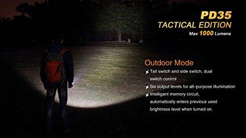 Ultimate Bundle: Fenix PD35TAC (PD35 Tactical) 1000 Lumens Cree XP-L Flashlight, 2x Fenix 3500mAh 18650 Batteries, Smart Charger, LumenTac Battery Organizer by Fenix (Image #4)
