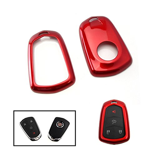 iJDMTOY (1) Exact Fit Glossy Red Smart Key Fob Shell Cover For 2015-up Cadillac ATX CTS CT6 ELR XTS XT5 SRX Escalade (Please verify your actual key before buying)