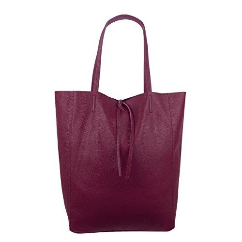 Freyday Damen Echtleder Shopper mit Innentasche in vielen Farben Schultertasche Henkeltasche Metallic look Bordeaux