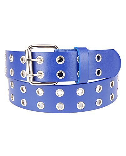 NYFASHION101 Solid Rich Fashion Color Double Grommet Belt, Blue, Med