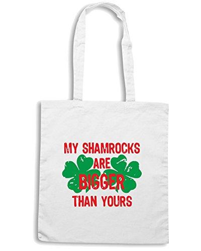T-Shirtshock - Bolsa para la compra TIR0156 my shamrocks are bigger white tshirt Blanco