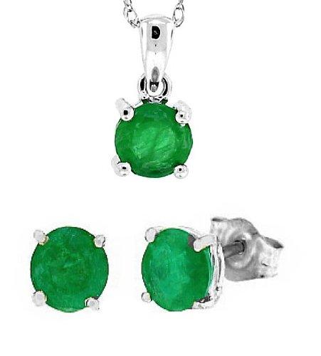 Mytreasurez 1,88 ct émeraude et diamants, pendentif et boucles d'oreilles en or blanc 14kt w / chain set