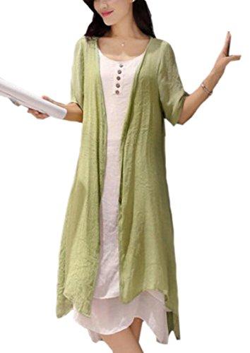 Jaycargogo Femmes Été Linge Baggy Style Chinois Deux Verts Robe Pièce