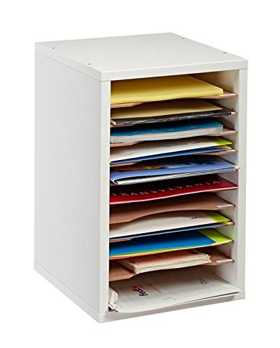 AdirOffice 11-Compartment Wood Vertical Paper