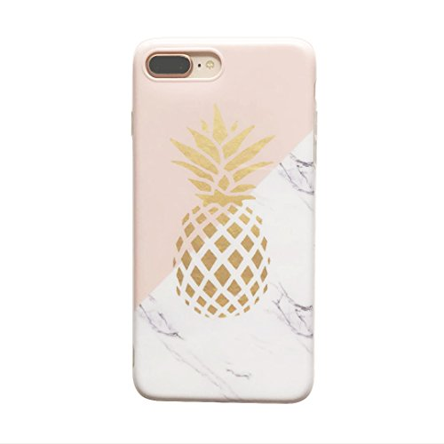 Price comparison product image YeLoveHaw Flexible Soft Slim Fit Case with Marble and Pineapple Pattern for iPhone 7 Plus / 8 Plus (Marble Pineapple)