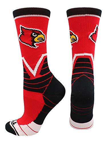 (TCK Sports Louisville Cardinals Victory Crew Socks (Red/Black/White, Medium) )