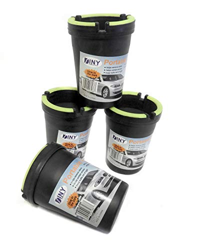 - 4 Pack Stub Out Glow in the Dark Cup-style Self-extinguishing Cigarette Ashtray - Butt Bucket -Portable Ashtray Black