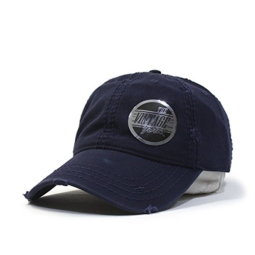 Plain Washed Cotton Twill Distressed with Heavy Stitching Low Profile Adjustable Baseball Cap (Navy) (Washed Hat Cotton Twill)