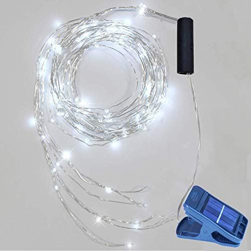 Ricky star Solar Fairy String Lights, 8 Modes 10 Strand 200 LED Cascading Waterfall Lights Battery Operated Waterproof String Lights for Watering can Lights Holiday Party Decorations (Cool White)