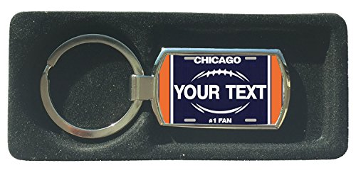 BleuReign(TM) Personalized Custom Name Football Chicago License Plate Metal Keychain Metal Foot Ring