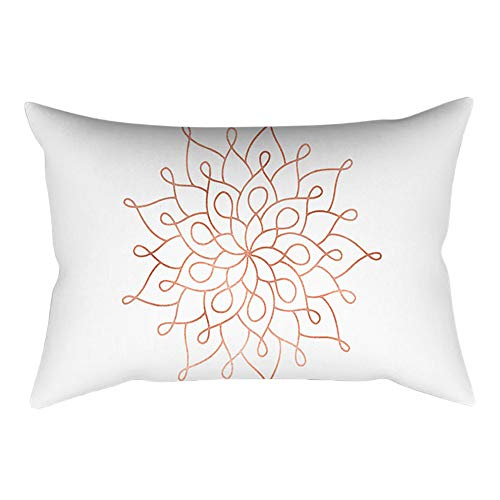 Wffo Rose Gold Pink Cushion Cover, Square Pillowcase Home Decoration(30cm X 50cm) (C)