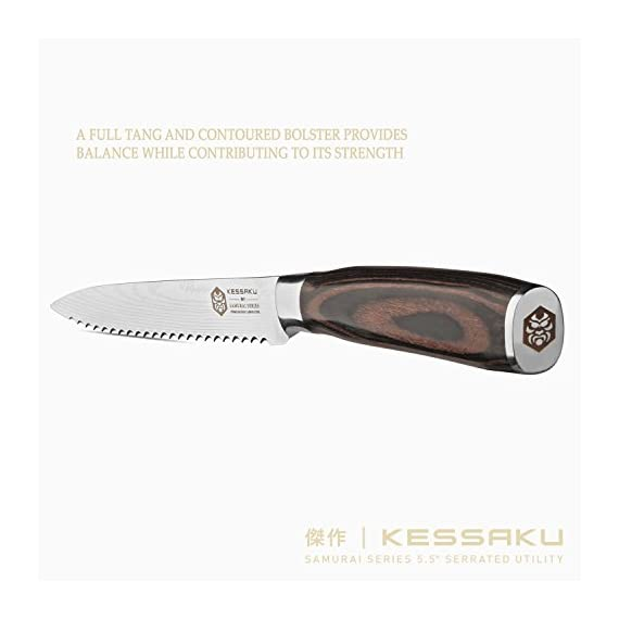 Kessaku 5.5-Inch Serrated Utility Knife - Samurai Series - High Carbon 7Cr17MoV Stainless Steel with Blade Guard 7 SAMURAI SERIES - Kessaku professional knives are well suited to tackle all your culinary needs. Our knives are hand crafted by our highly trained technicians utilizing cutting edge technology and the finest materials. Designed in Japan, our Kessaku knives will be a staple in your kitchen and will become your 'Go To' knife. Experience the difference owning a true Chef's knife can make. You have joined countless chefs and true cooking enthusiasts who already own this professional knife. PREMIUM CONSTRUCTION - Utilizing our specially formulated High Carbon 7CR17MOV Stainless Steel your knife is constructed to be very resistant to corrosion and rust. The mirror polished, smooth pakka wood handle offers superior strength and comfort while its seamless build ensures no dirt or debris collects on your knife. The pakka wood handle is heat, cold, and moisture resistant and has a full tang for added strength. Kessaku means masterpiece in Japanese and that is what you will be receiving. COMFORT AND DESIGN - We design our knives to be well balanced so you won't feel dragged down. The knife's ergonomics helps reduce aches and fatigue in your hands. The precision forged, razor sharp blade is hand sharpened by a 16° angle per side making for a sharper, longer lasting blade edge. With a Rockwell hardness of 58 you are sure to receive a strong and durable blade. A good knife is an extension of your hand and so you should choose one that makes the work feel effortless.