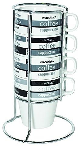 IMUSA USA A120-22190 Stackable Cappuccino Mug Set with Chrome Rack 4-Piece Set, Black and White - 8 Ounce Cafe Mug