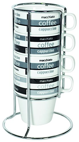 Stackable Cappuccino Cup - IMUSA USA A120-22190 Stackable Cappuccino Mug Set with Chrome Rack 4-Piece Set, Black and White