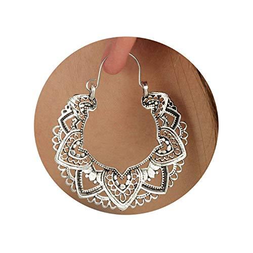 Tribal Brass Earring Dangle Drop Earring Flower Ornate Earring For Women Vintage Earring,C35 ()