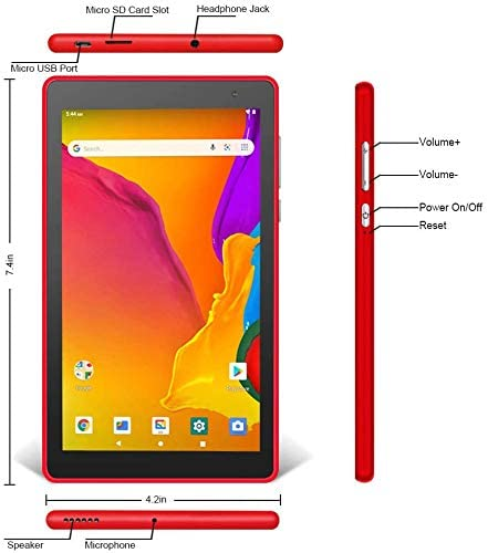 Pritom 7 inch Tablet - Android 9.0 Tablet PC with 32 GB Storage, Quad Core Processor, HD IPS Display, Dual Cameras, WiFi, Bluetooth - Android Tablet,Red