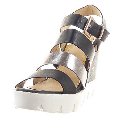 Sopily - Zapatillas de Moda Sandalias Tacón escarpín Zapatillas de plataforma Tobillo mujer brillantes multi-correa Hebilla Talón Plataforma 11 CM - Negro