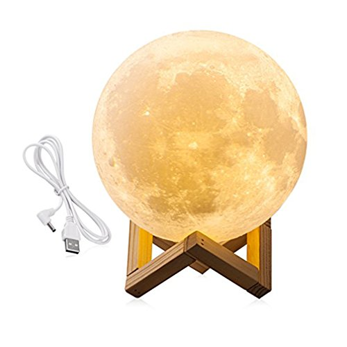 Famirosa Lighting LED 3D Printing Moon Lamp,Warm Cool White Dimmable Touch Switch Rechargeable Lunar Night Light with Wooden Stand,Home Decorative Bedlamp Creative Gift(5.9Inch)