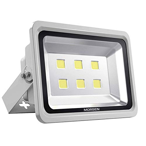 Morsen LED Flood Light 300W, IP65 Waterproof 6000K 30000lm Super Bright LED Security Outdoor Indoor Flood Lights, Commercial Lighting Fixture for Parking Lot, Garden, Football Basketball Court ()