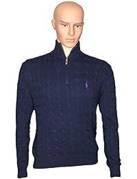 Mens Cable Knit 1/2 Zip Mock Turtleneck Sweater