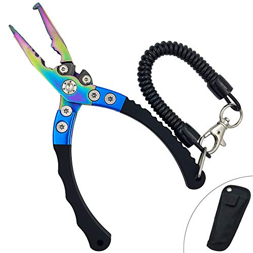 Fishing Pliers for Saltwater, Stainless Steel Jaws, 6.7 Inches Plies with Sheath and Lanyard (Rainbow)