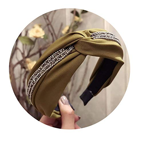 New High Grade Cloth Cross Rhinestone Headbands Fashion Wide Hoop Headband Hair Accessories for Women Girls Boutique Headdress,army green
