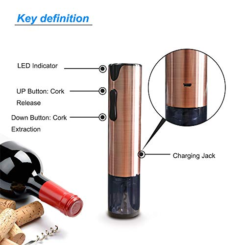 Electric Wine Opener Rechargeable Corkscrew Bottle Opener with Foil Cutter Stainless Steel Materials (Rose Gold) by FLASNAKE (Image #3)