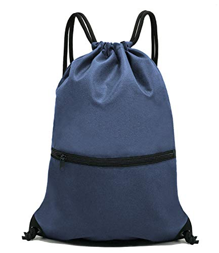 (HOLYLUCK Men & Women Sport Gym Sack Drawstring Backpack Bag - Navy Blue)