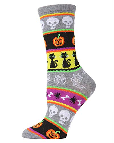 (MeMoi Halloween Stripe Medley Crew Socks | Women's Novelty Socks Medium Gray Heather MF7 947 One Size)