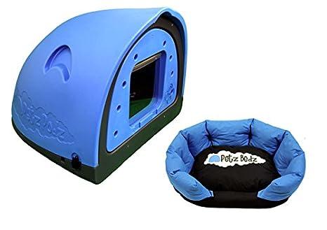 PetzPodz Perro Pod con Solapa Placa Frontal Insertar Large Funda Perro Caja de plástico Azul,