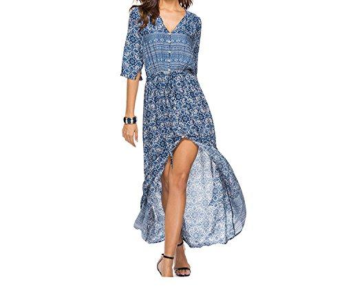 Autumn Print V Neck Casual Long Dresses Bohemian Single Boho Beach Maxi Dresses 2018,Blue,M - Neck Caress Satin