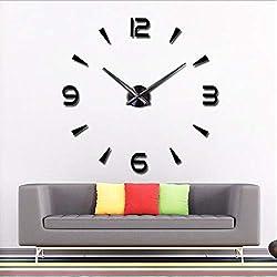 CreationStore 3D DIY Frameless Wall Clock Mirror Surface Wall Sticker Clocks Lagre Decorative Wall Clock for Home Living Room Bedroom Office Hotel (Black)