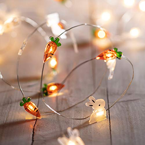 Lights4fun, Inc. Easter Bunny Rabbit & Carrot Battery Operated Micro LED Indoor Silver Wire String Lights