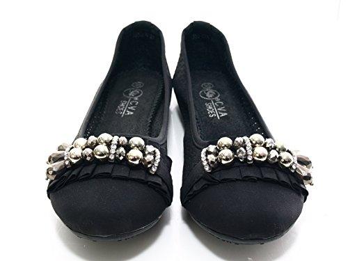 Damen Ballerina Black Größe 37 # 35022