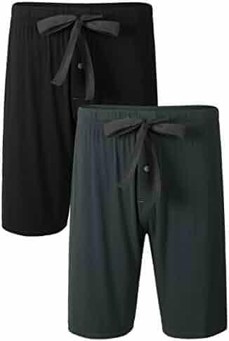 437c723bcfa Genuwin Mens Bamboo Rayon Sleep Shorts with Button Fly Drawstring 2 Pack  Pajama Bottoms Sleep Bottoms
