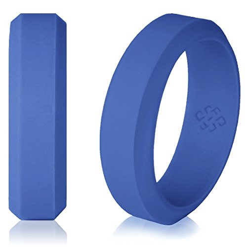 Silicone Wedding Ring Cobalt Blue Band for Women and Men - Size 8 Superior Rubber Rings - Premium Quality, Style, Safety, Comfort - Ideal Bands for Gym, Safe for Work, Hunting, Sports, and Travels