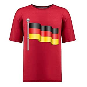 Custom Mens Cotton Short Sleeve Round Neck T-shirt, Printed with World Cup Images red by Maris's Diary