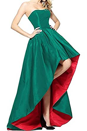 High Low Prom Dresses 2018 Strapless Satin A Line Evening Gowns For Women Party