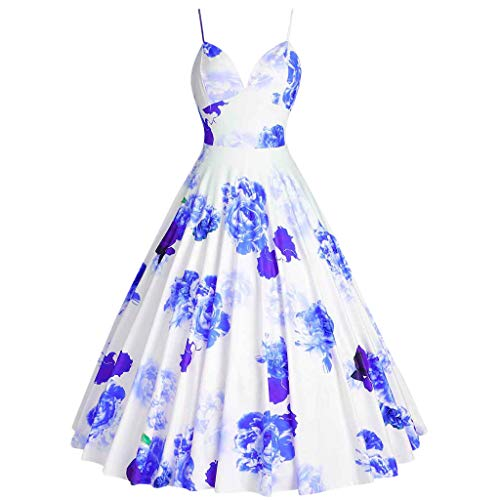 Toponly Sexy Camis Vintage Audrey Hepburn Dress For Women Elegant V Neck Sleeveless Flower Printing Wedding Party A-line Midi Dresses