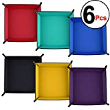 SIQUK 6 Pieces Dice Tray PU Leather Dice Rolling Tray Folding Square Holder for Dice Games, 6 Colors