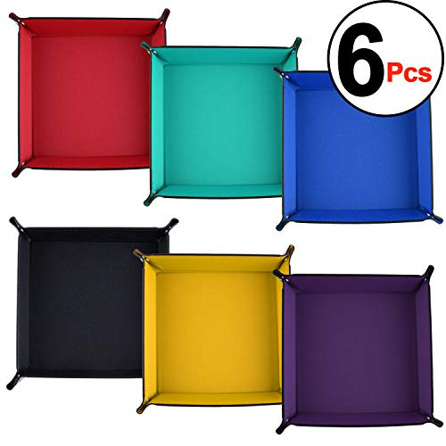 (SIQUK 6 Pieces Dice Tray PU Leather Dice Rolling Tray Folding Square Holder for Dice Games, 6 Colors)