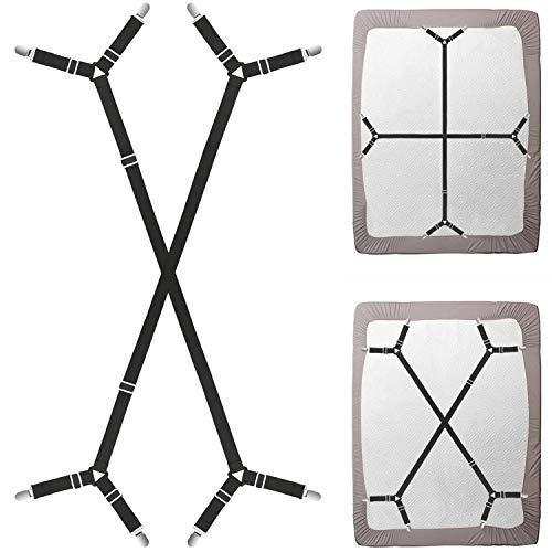 - Triangle Bed Sheet Fastener Adjustable Holder Straps for a Smooth Mattress, Adjustable Mattress Pad Duvet Cover Bed Sheet Corner Holder Elastic Straps Fasteners Clips Grippers Clippers (2pcs/set,black