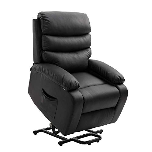 Homegear PU Leather Power Lift Electric Recliner Chair with Massage, Heat and Vibration with Remote Black