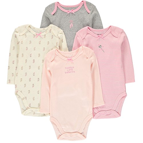 Wan-A-Beez 4 Pack Baby Girls' and Boys' Long Sleeve Bodysuits (0-3 Months, Ballet) (Bodysuit Ballet)